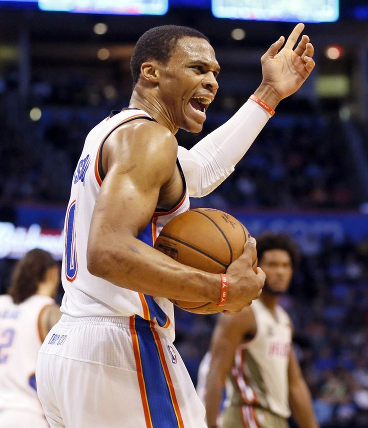 Oklahoma City's Russell Westbrook (0) argues a call during an NBA basketball game between the Oklahoma City Thunder and the Miami Heat at Chesapeake Energy Arena in Oklahoma City, Monday, Nov. 7, 2016. Photo by Nate Billings, The Oklahoman