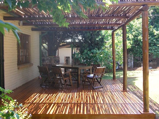 Featured. Brown Wooden Decks for Indoor and Outdoor Design: Outstanding Terrace Africque Wooden Decks Design Ideas With Wooden Flooring And Wooden Roof Also Wooden Table Sets Ideas ~ wegli
