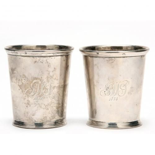 Pair of KY Coin Silver Mint Julep Cups by William Kendrick