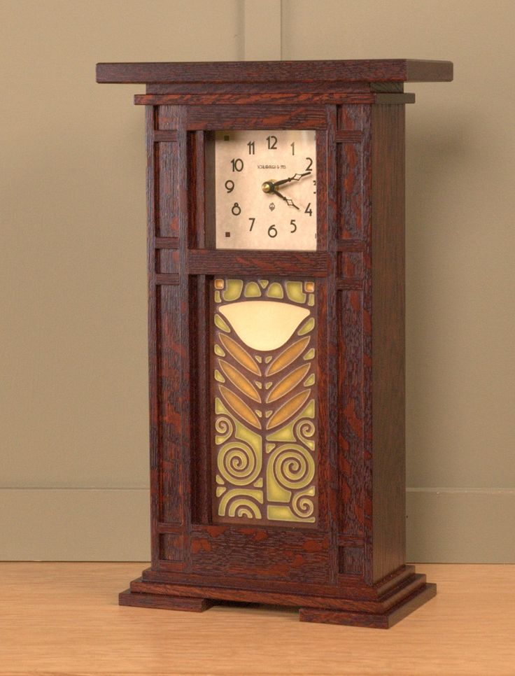 Prairie Style Tile Clock with Craftsman Oak Finish and 4x8 tile by Schlabaugh…