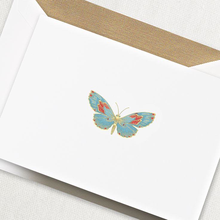Engraved Butterfly Note: One of our most classic and coveted motifs, the engraved butterfly flutters elegantly in the center of this note, promising a handwritten note of equal beauty inside.