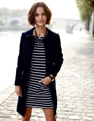 Boden stripy tunic + coatFashion, Parisians Chic, Spring Coats, Navy Stripes, Dresses, Parisians Style, Black White, Boden Usa, Trench Coats