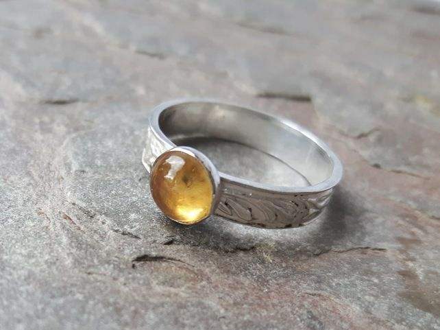 Silver Ring with leaf pattern and Citrine Gemstone  £25.00