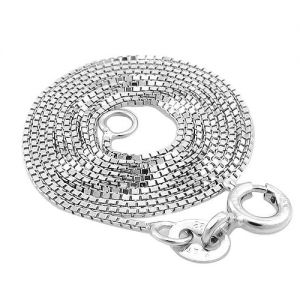 925 Solid Sterling Silver Box Chain White Gold Plated