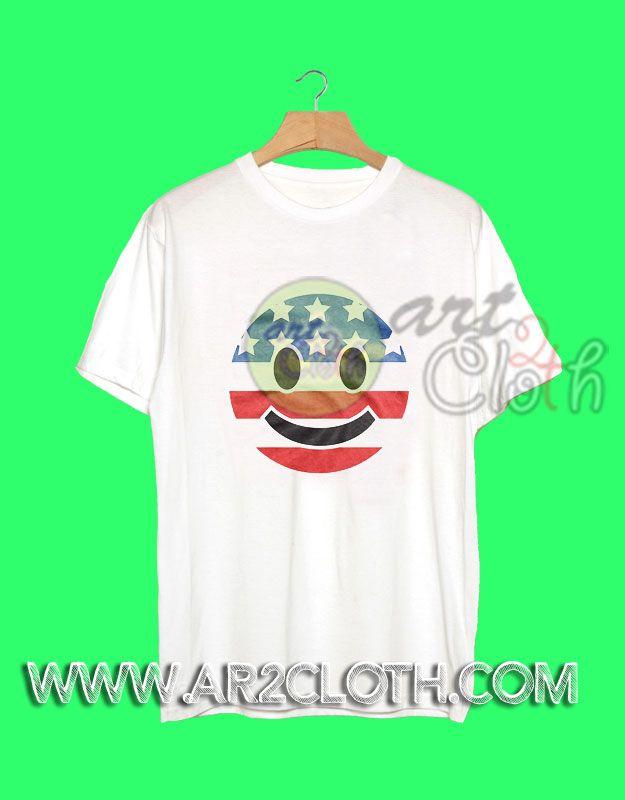 American Flag Emoji Independence Day T Shirt //Price: $12 //     #FashionMens