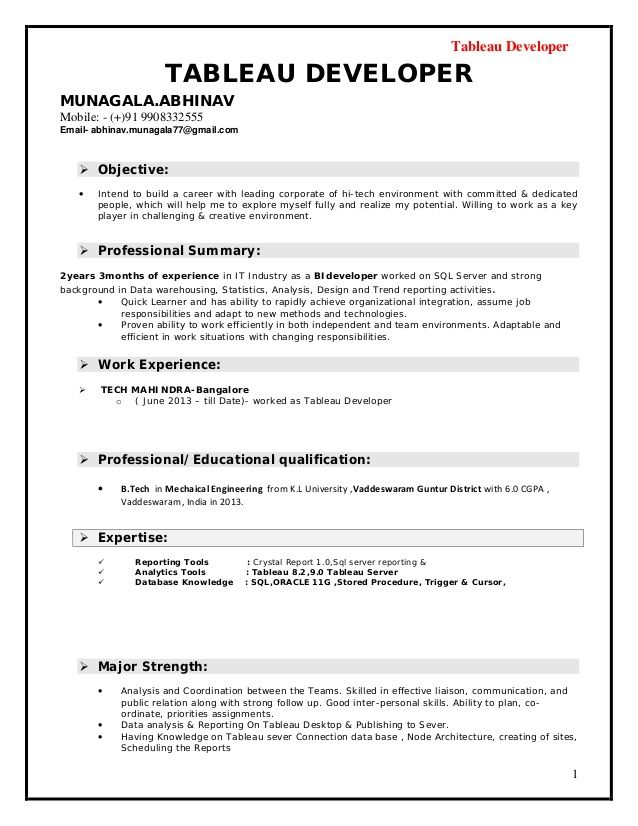 Tableau Developer Awesome Tableau Developer Tableau Developer Resume Now That Youve Selected A Table Resume Template Professional Resume Resume Templates