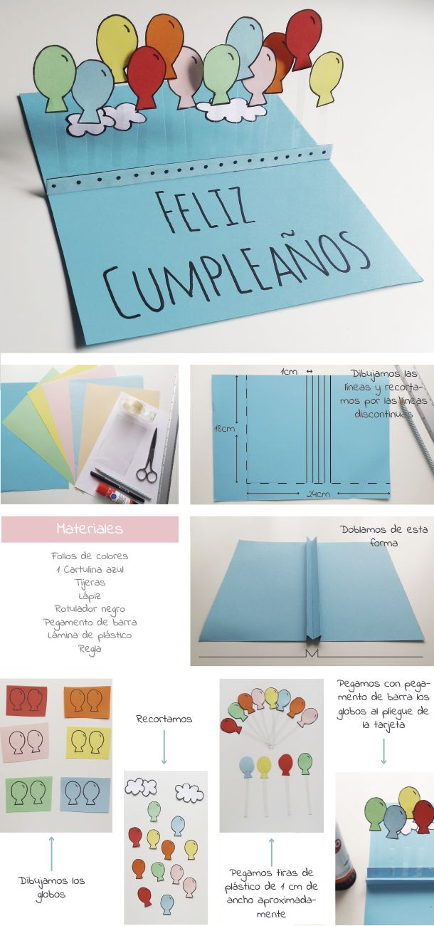 tarjeta de cumpleaos con globos carolinaarnedovanegas pinterest birthdays birthday cards and balloons