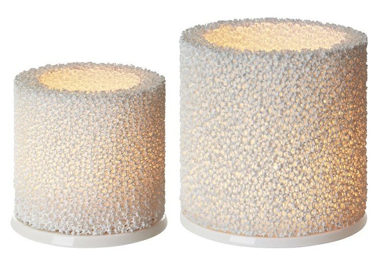 Unusual coral like textured candle holders give the most soft, ambient inviting candle light for real cosiness.