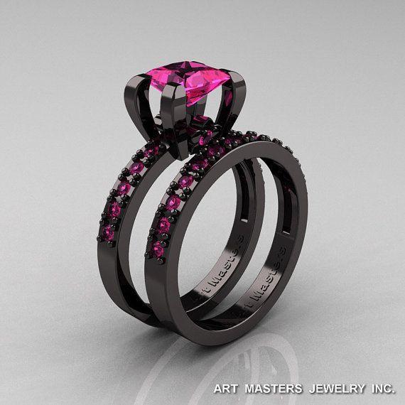 Modern French 14K Black Gold 1.0 Carat Princess Pink by artmasters, $2259.00
