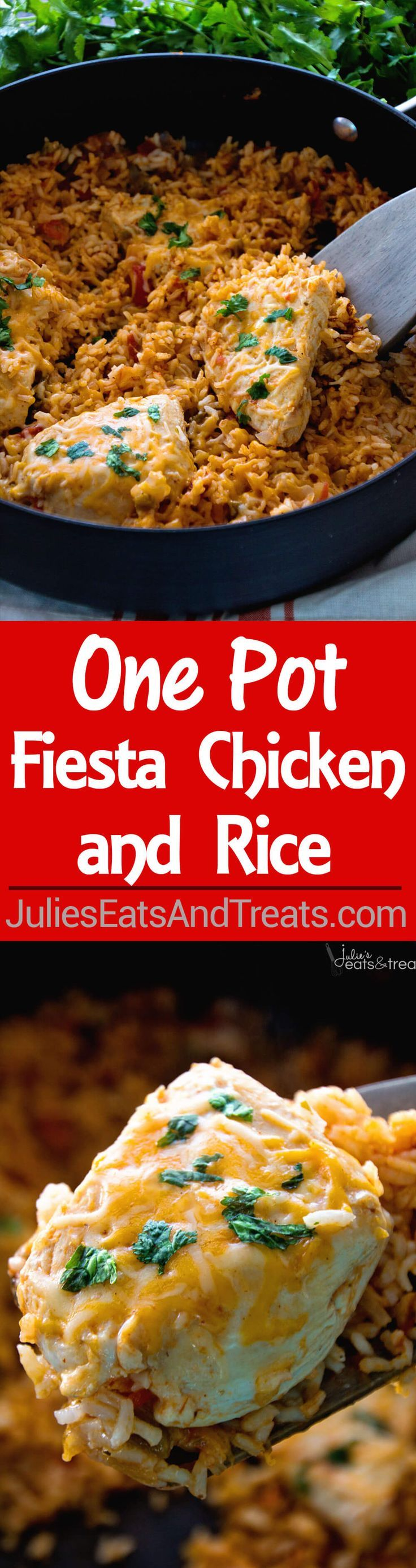 One Pot Fiesta Chicken & Rice Recipe ~ Quick, Easy One Pot Dinner with a Southwestern Flair! Cheesy Chicken In a Bed of Southwestern Rice Makes the Perfect Quick Meal! ~ http://www.julieseatsandtreats.com