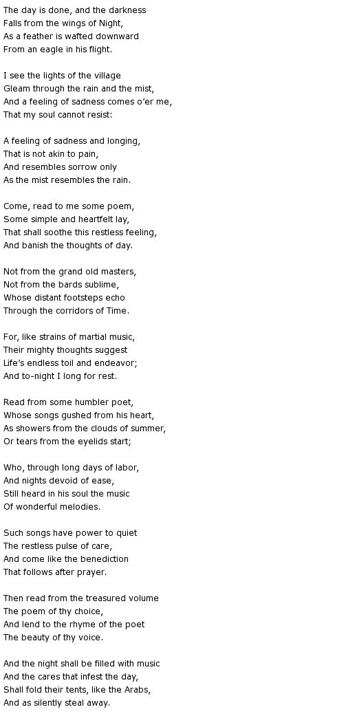 The Day is Done ~ Henry Wadsworth Longfellow Poem