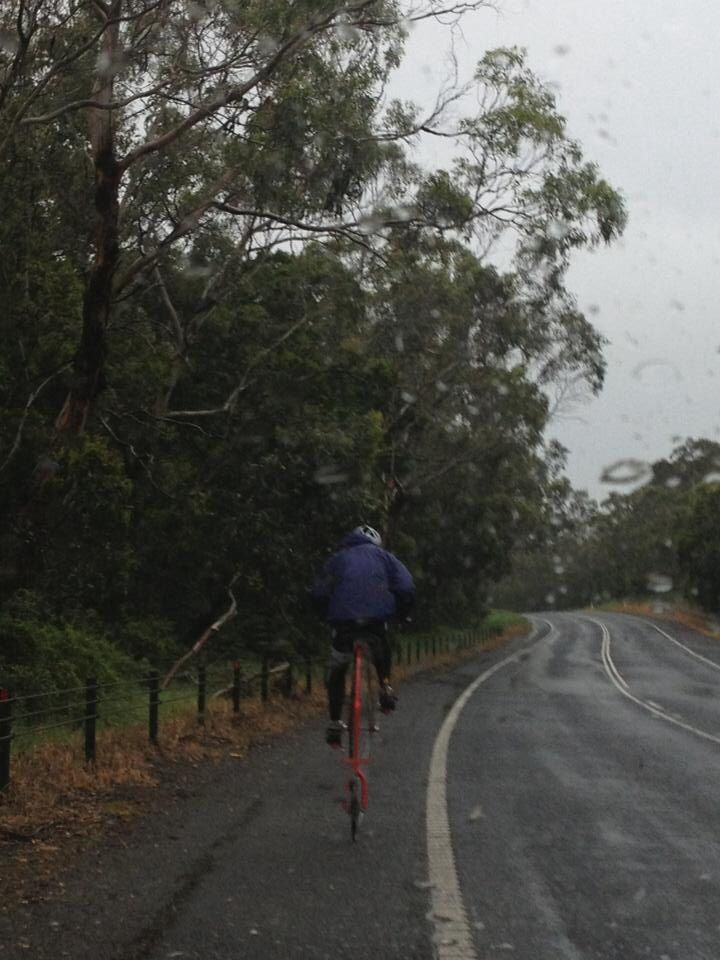 Rain, head wind and hills Penny Farthing bliss. Total pleasure grinding to the top.