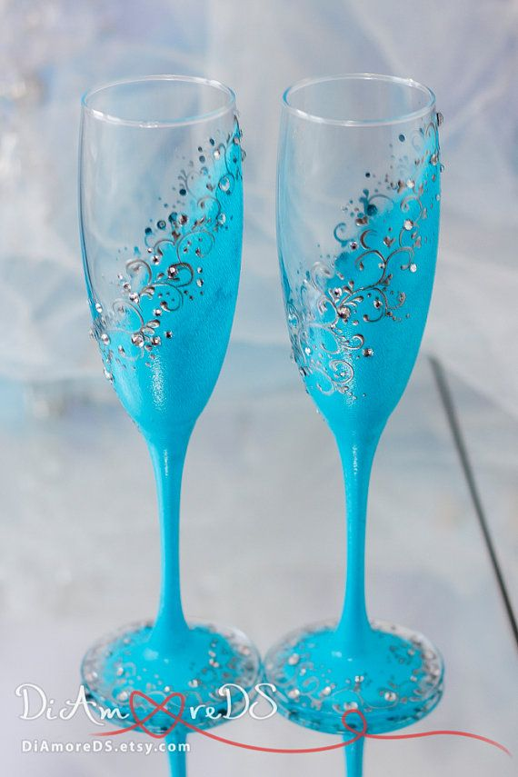 Wedding champagne flutes sky blue & silver by DiAmoreDS on Etsy