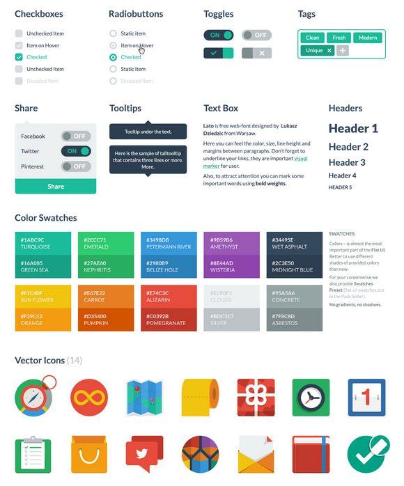 Flat Style Kit de interfaz de usuario con el formato PSD y HTML - http://www.cleardata.com.ar/diseno-web/flat-style-kit-de-interfaz-de-usuario-con-el-formato-psd-y-html-2.html