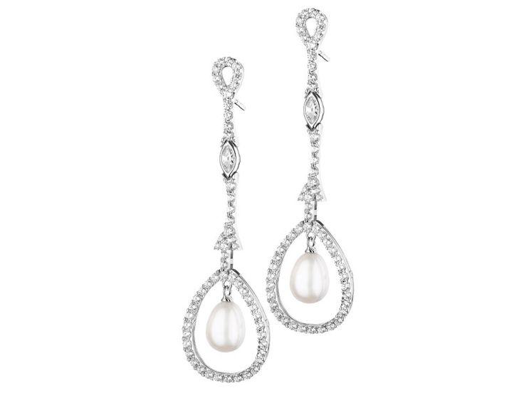 Kolczyki srebrne z perłą i cyrkoniami
