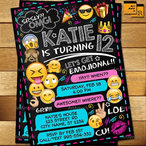 Emoji Invitation Emoji Birthday Invitations Teen by ArtAmoris