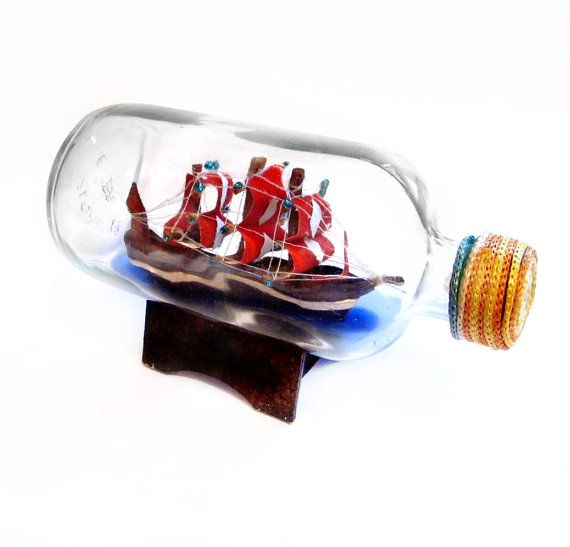 Vintage ship in a bottle glass beach house decor for Baltimore glassware decorators