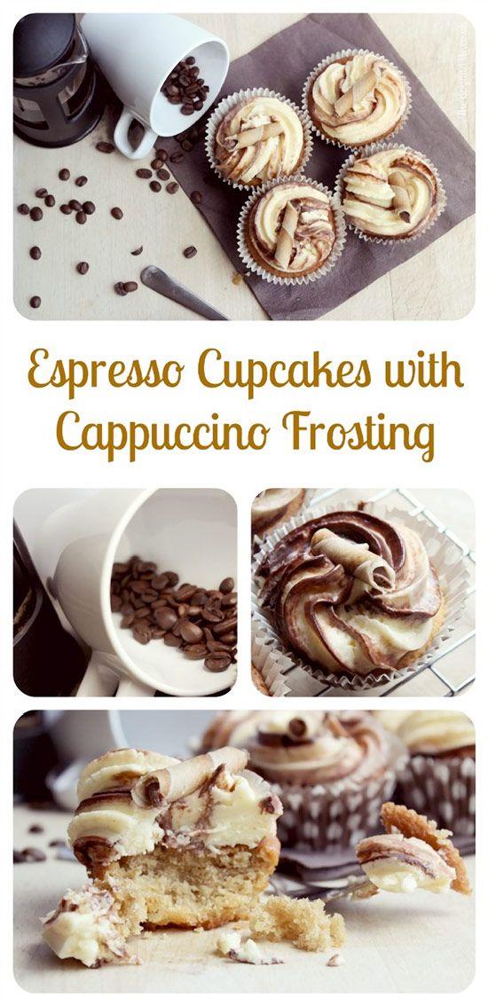 Espresso Cupcakes with Cappuccino Frosting #cupcakesrecipes http://thecupcakedailyblog.com/espresso-cupcakes-with-cappuccino-frosting/