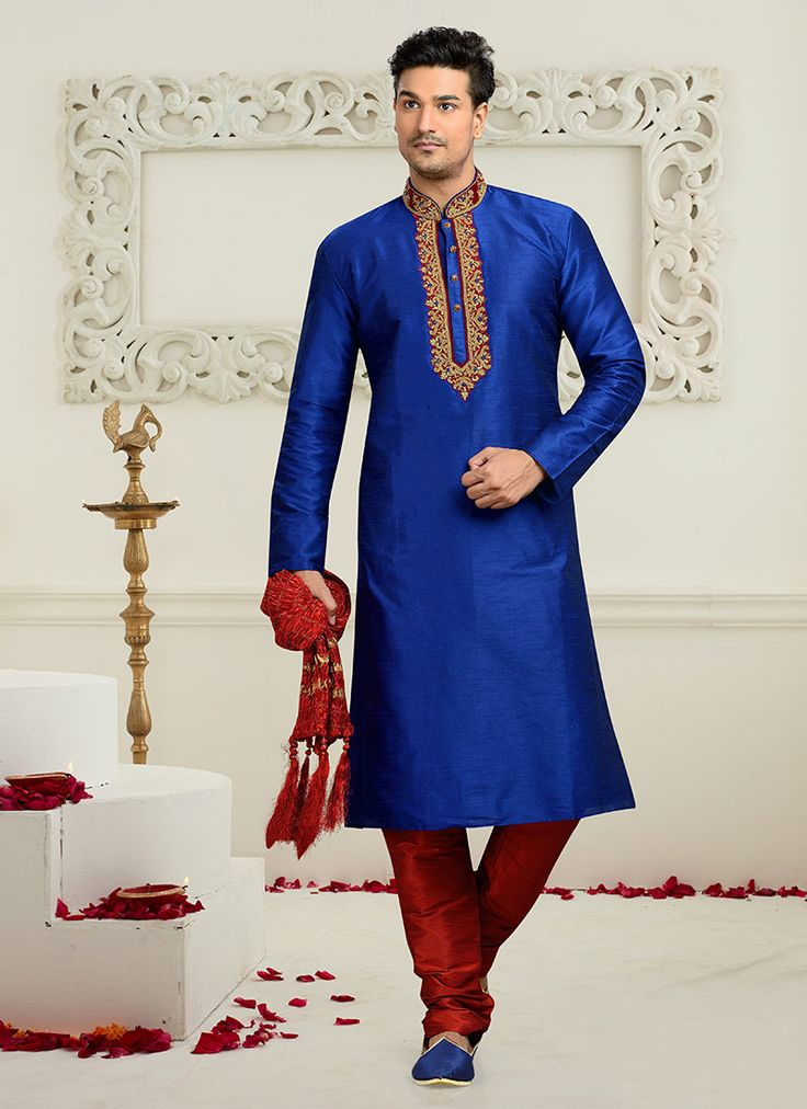 Buy Deep Blue Art Dupion Silk Kurta Pyjama online from the wide collection of kurta-pyjama.  This Blue colored kurta-pyjama in Art Silk fabric goes well with any occasion. Shop online Designer kurta-pyjama from cbazaar at the lowest price.
