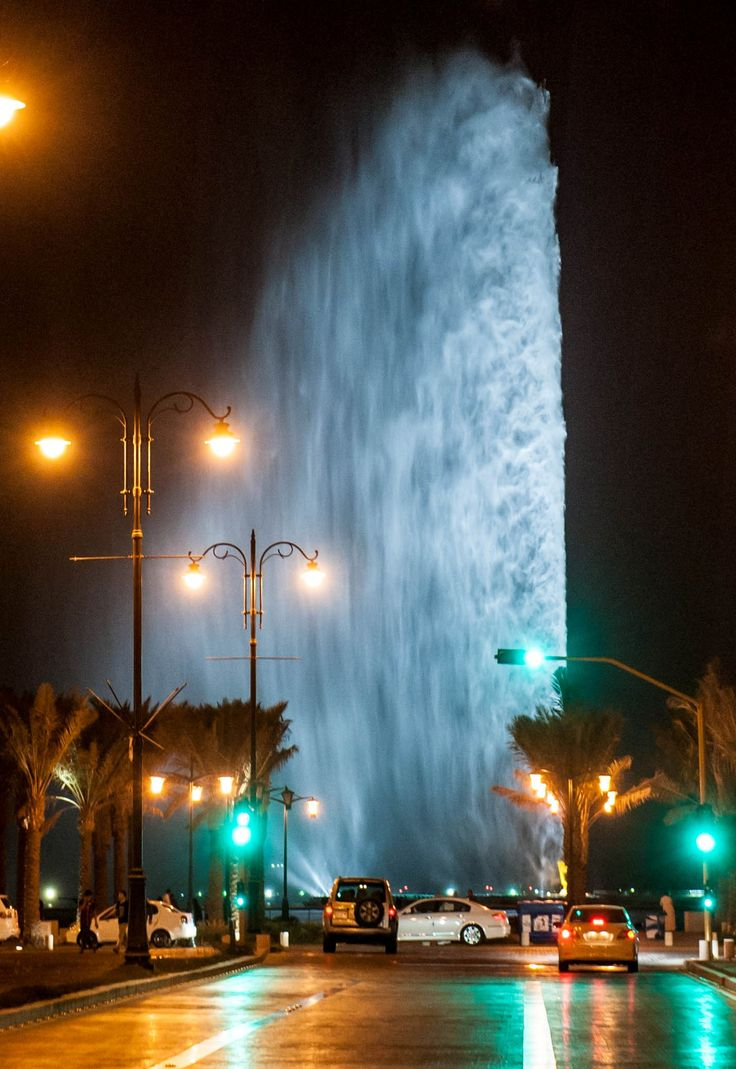 AlHamra' - Jeddah fountain at night  - KSA , Beautiful eye catching sight .