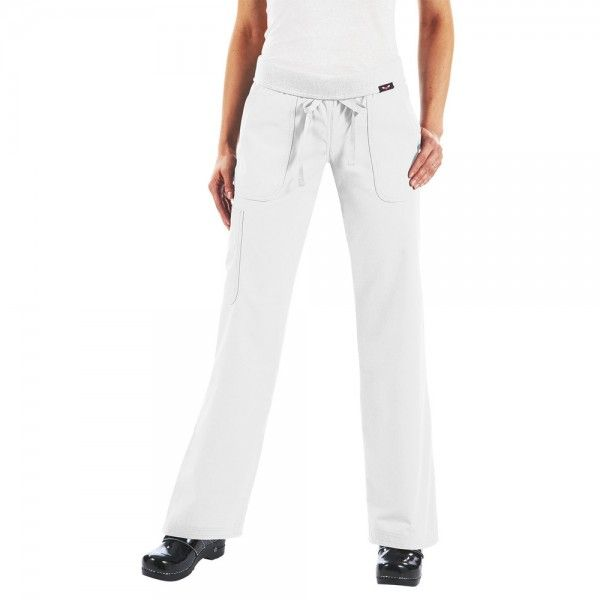 Koi Morgan Scrub Trousers in White. If you like your comfort, then these koi Morgan Scrub Pants are perfect. They are ultra soft and super comfy. They have a drawstring waist and a rib-trim waist band that can be worn rolled or unrolled for added comfort. When you wear the koi Morgan Scrub Trousers, it really does feel like you are wearing tracksuit bottoms but with total style. £27.50  #nursescrubs #dentistuniform #nurses #dentists #whitescrubs