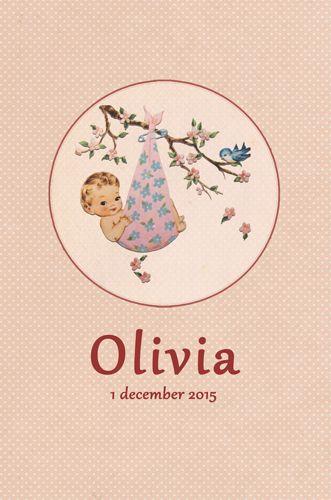 Geboortekaartje Olivia - voorkant - Pimpelpluis - https://www.facebook.com/pages/Pimpelpluis/188675421305550?ref=hl (#  meisje - retro - baby - roze - vogel - origineel)