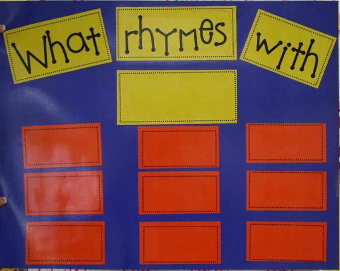 Rhyming chart...if you set this up in a pocket chart you would have an easy 2 minute skills activity to do every day!