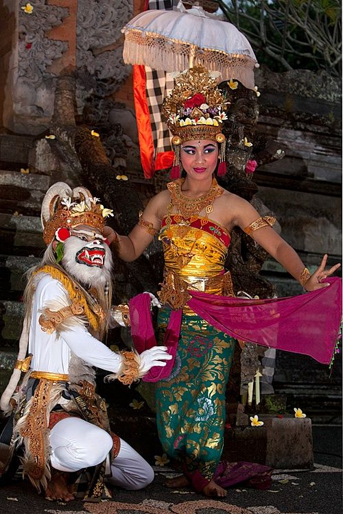 Hanuman, a Hindu deity and character in the Ramayana, and a Balinese dancer, Bali, Indonesia