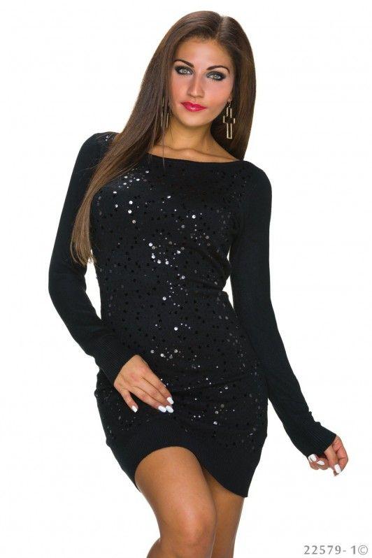 Zwarte lange pailletten jurk