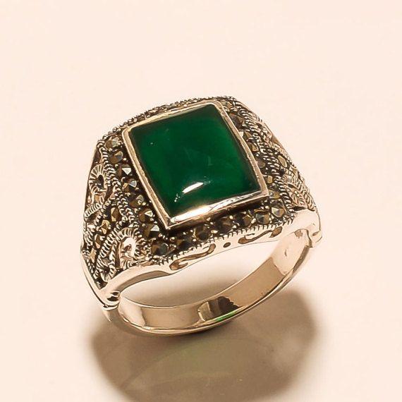 Hecha a mano 925 plata esterlina Natural USA verde ciclistas fino anillo de ágata y Marcasita piedra preciosa estilo otomano Turco joyería Vantage de los hombres