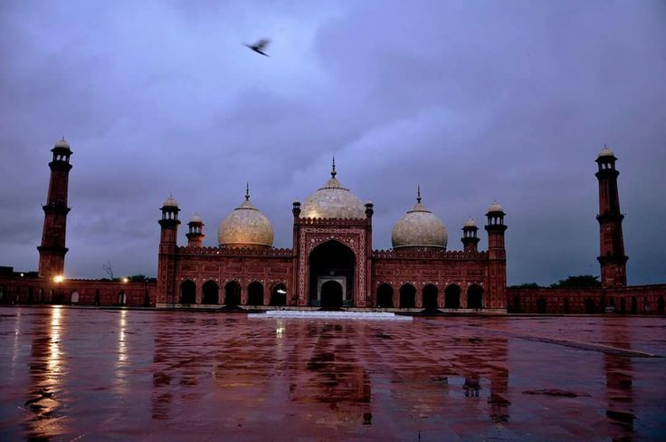 Badshahi Mosque. Amazing view  in rain of fajar prayer time .Lahore