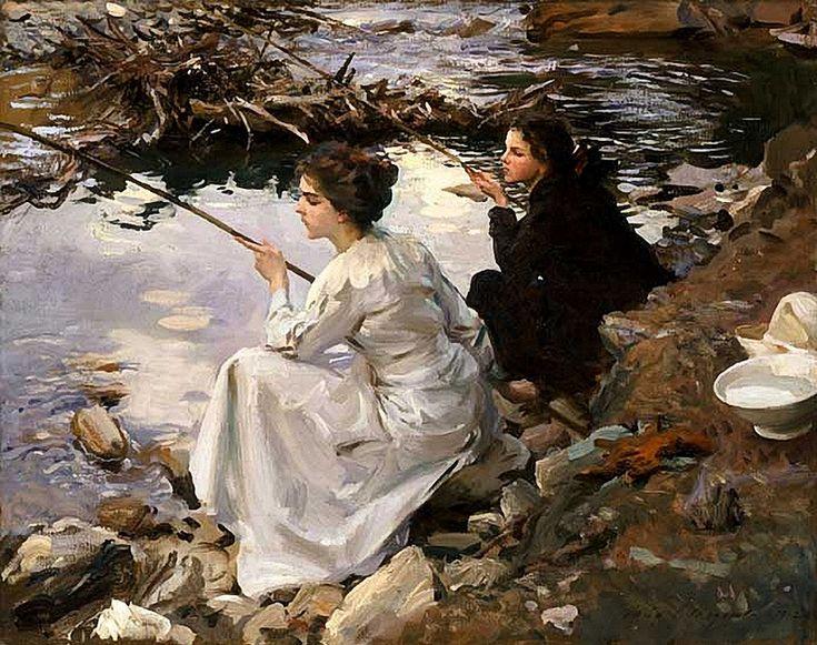 John Singer Sargent - Two Girls Fishing