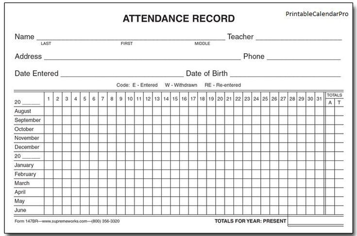 Attendance Printable Calendar Template | Attendance sheet ...