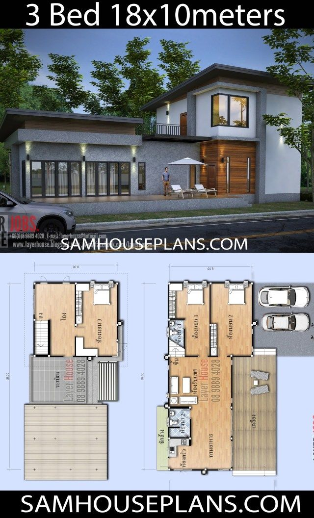 House Plans Idea 18x10m With 3 Bedrooms Sam House Plans Architectural Design House Plans House Plans Bedroom House Plans