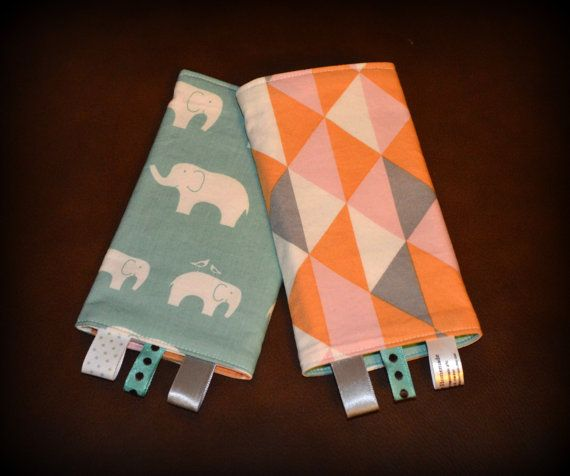 Ergo teething pads with tags from etsy