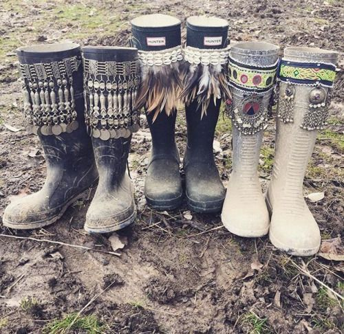Embellished festival boots - this would be a great DIY!