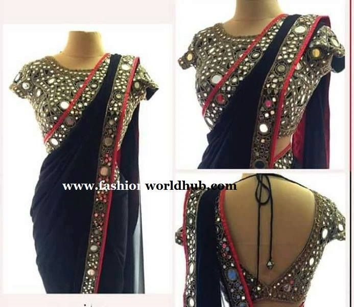 Mirror work Sarees with Mirror work Blouses are trending now a days. It was allmost 10 to 15 years back mirror work was quite fashion . Now that trend has come back again. We have even seen l…