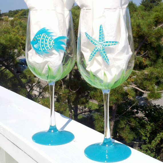 Teal Fish and starfish hand painted wine by GlassesbyJoAnne, $36.00