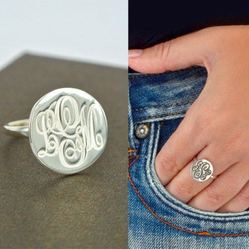 Sterling Silver Engraved Monogram Ring-Handmade Name Ring-Custom Initial Monogram Ring With Any Initial-Circle Monogram Ring For Girl Gift