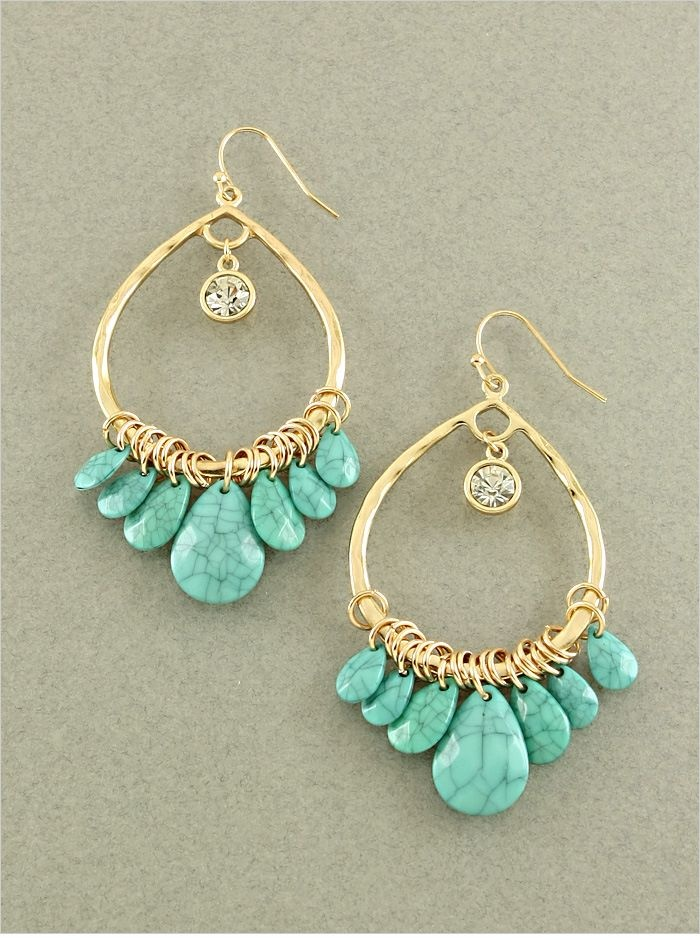 "Turquoise and Gold Colored Earrings  - 2.5"" Long  - Quantity: 1  - Item BBQ  $15.00 pinned with Pinvolve"