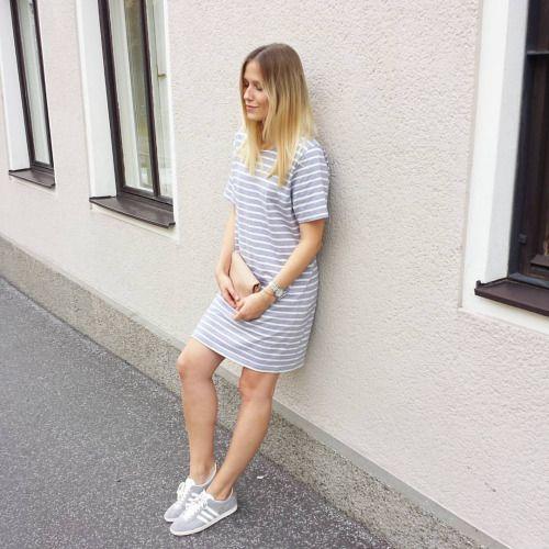 tifmys - Ganni dress, Yerse clutch & Adidas Gazelle sneakers.