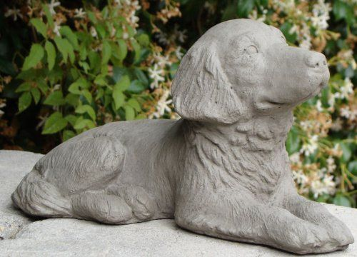 Designer Stone 7601-A Retriever Puppy by Designer Stone. $32.35. As this loyal and dear companion relaxes within the garden. He ponders when his master may arrive with a handful of treats. Hand crafted in America of solid cast-stone- concrete made with integrated coloring and is sealed for outdoor use. 6'' tall by 10'' wide and 5 lbs Naturally aged appearance
