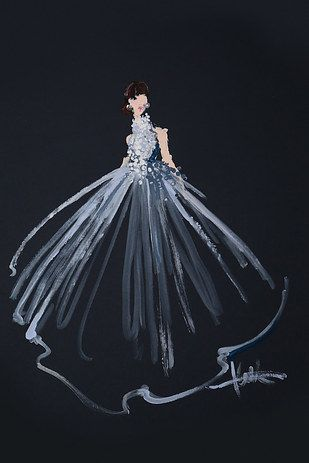 Each gown only took about 5-10 minutes to paint. | This Fashion Illustrator Painted Oscars Gowns Using Only Q-Tips