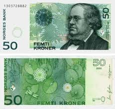 Norwegian 50 NOK kroner bank note selled