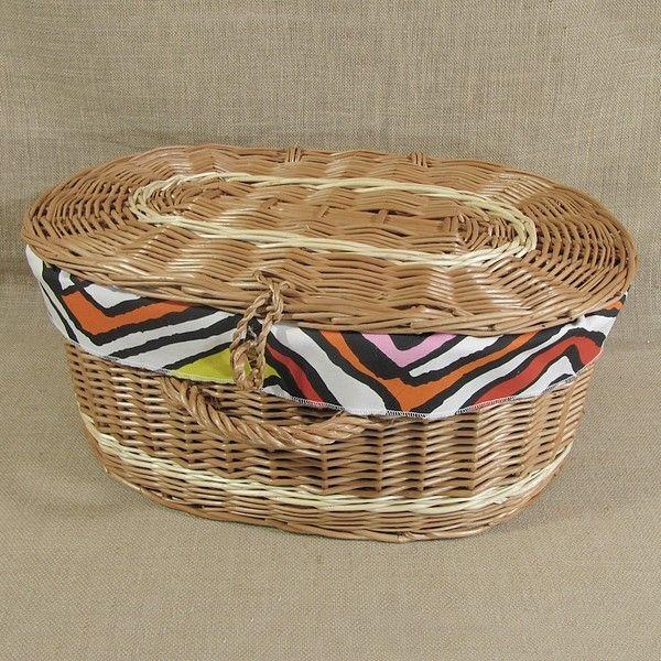 Wiklinowa walizka obszyta materiałem, wzór - LYNDBY