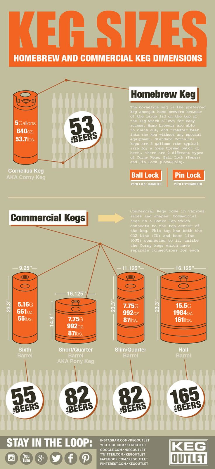 Keg Sizes - Homebrew and Commercial Keg Dimensions (Infographic)
