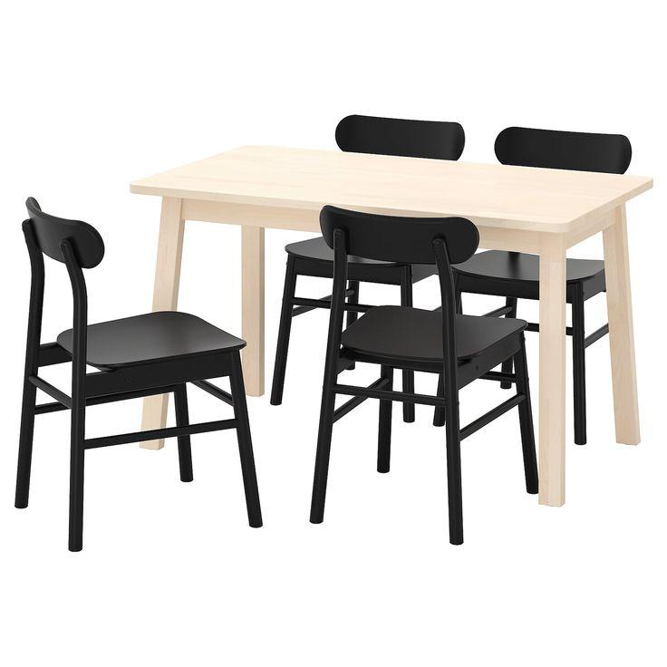 LISABO RÖNNINGE Tisch und 4 Stühle schwarz, schwarz