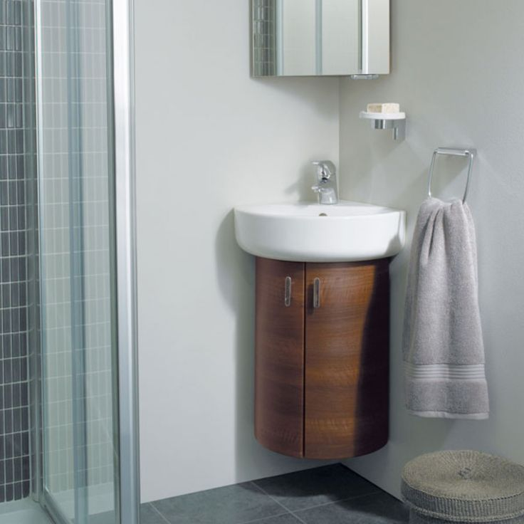 Corner Vanity Units For Small Bathrooms Part - 26: Fantastic Corner Bathroom Sink Vanity Units With Delta Single Handle Tub  Faucet Also Wall Mounted Soap Tray Close To Kohler Forte Towel Rings Above  Woven ...