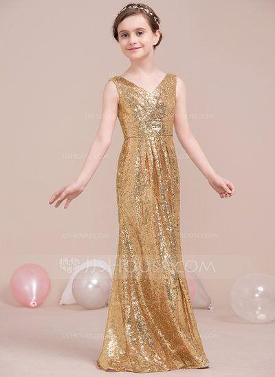 [US$ 72.99] A-Line/Princess V-neck Floor-Length Sequined Junior Bridesmaid Dress With Ruffle (009106841)