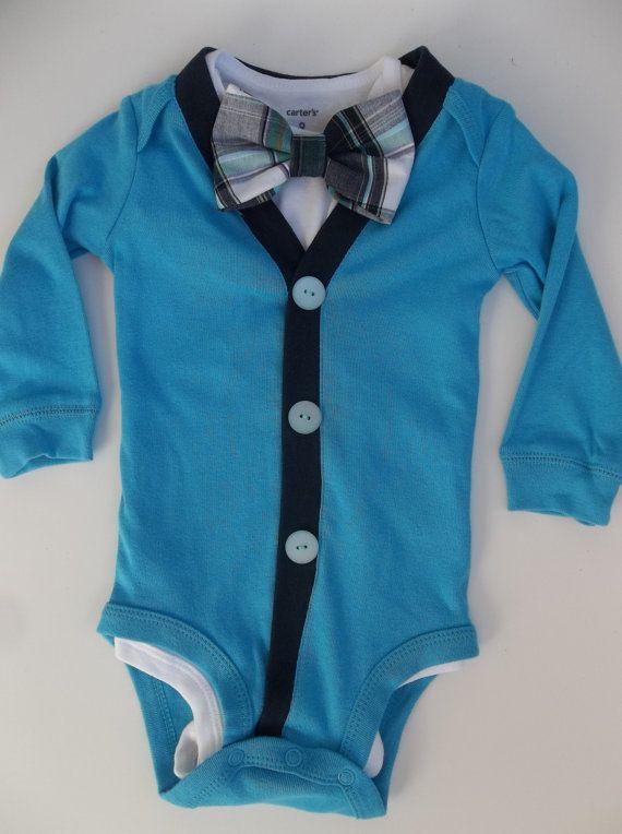 Baby Boy Bowtie Cardigan  Navy Plaid  for a Preppy Baby Boy